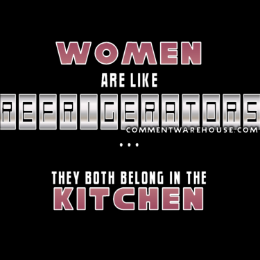 Women are like refrigerators - they both belong in the kitchen | funny graphic