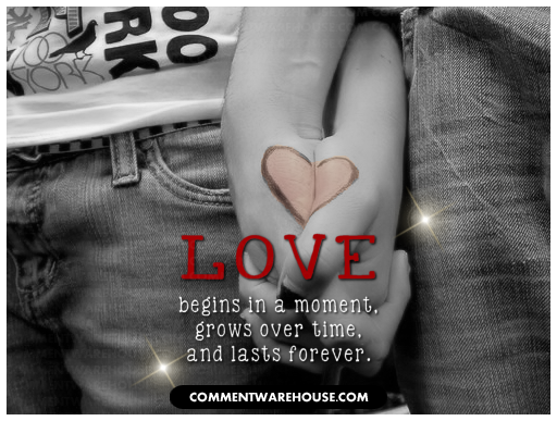 Love begins in a moment, grows over time, and lasts forever | Love Graphic
