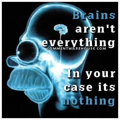 Brains aren't everything. In your case, it's nothing. | Funny Graphics