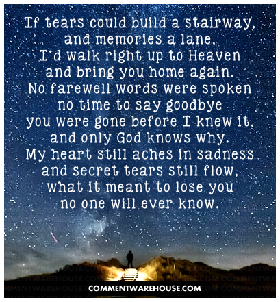If tears could build a stairway and memories a lane, I'd walk right up to Heaven and bring you home again...