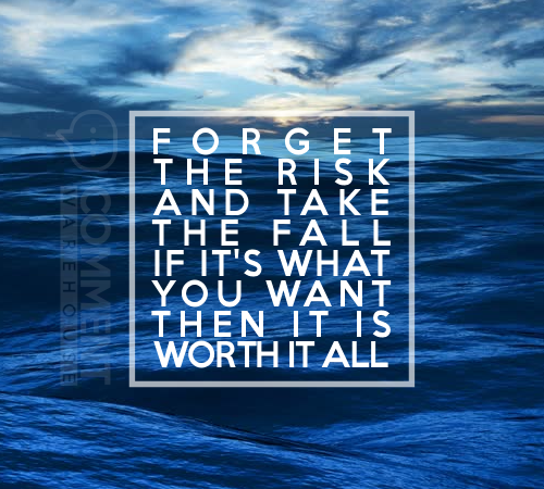Forget the risk and take the fall if it's what you want then it is worth it all | Quote Graphics