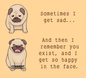 Sometimes I get sad and then I remember you exist and I get so happy in the face | Compliment comments and graphics