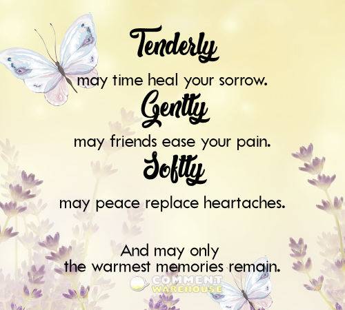 Tenderly may time heal your sorrow. Gently may friends ease your pain. Softly may peace replace heartaches. And may only the warmest memories remain. | Sympathy & Memorial Quotes and Images