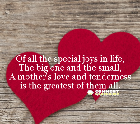 Of all the special joys in life, the big one and the small, a mother's love and tenderness is the greatest of them all.